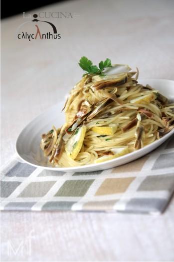 spaghettini (Garofalo) con carciofi e cedro – la cucina di calycanthus